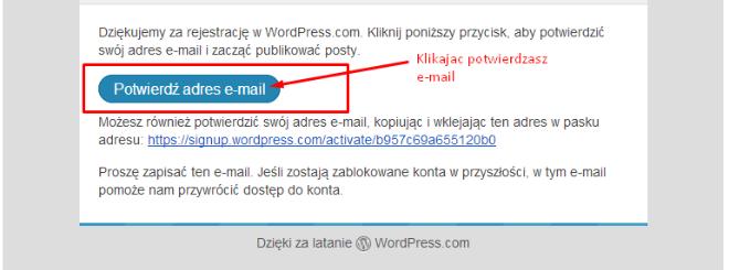 Potwierdzenie maila do aktywowania darmowego bloga wordpress